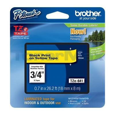 BROTHER TZ LAMINATED TAPE BLACK ON YELLOW 0.7 IN X 26.2 FT